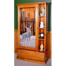 #358 Solid Pine 8-Gun Library Cabinet