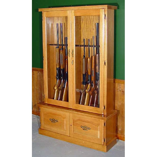 #910 Premium Solid Oak 12 Gun Cabinet