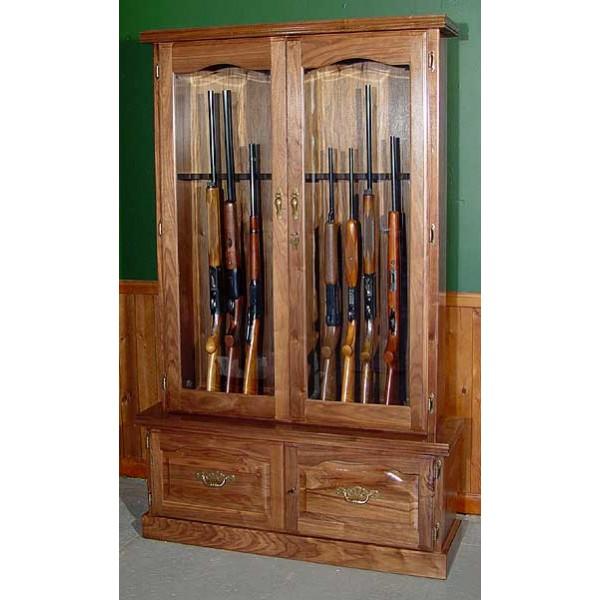 Gentil #912 Premium Solid Black Walnut 12 Gun Cabinet